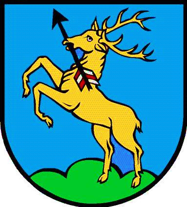 Wappen von Herbertingen mit Abbildung eines gelben Hirsch mit Pfeil in der Schnautze und halb aufrecht stehend auf den Hinterbeinen auf blauem Grund