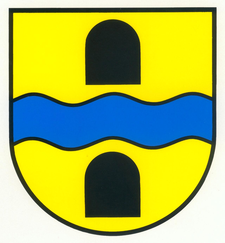 Wappen von Marbach mit Abbildung von zwei natürlichen Bienenstöcken oben und unten in gelb mit jeweils schwarzem Eingangstor und dazwischen einem blauen Wasserlauf