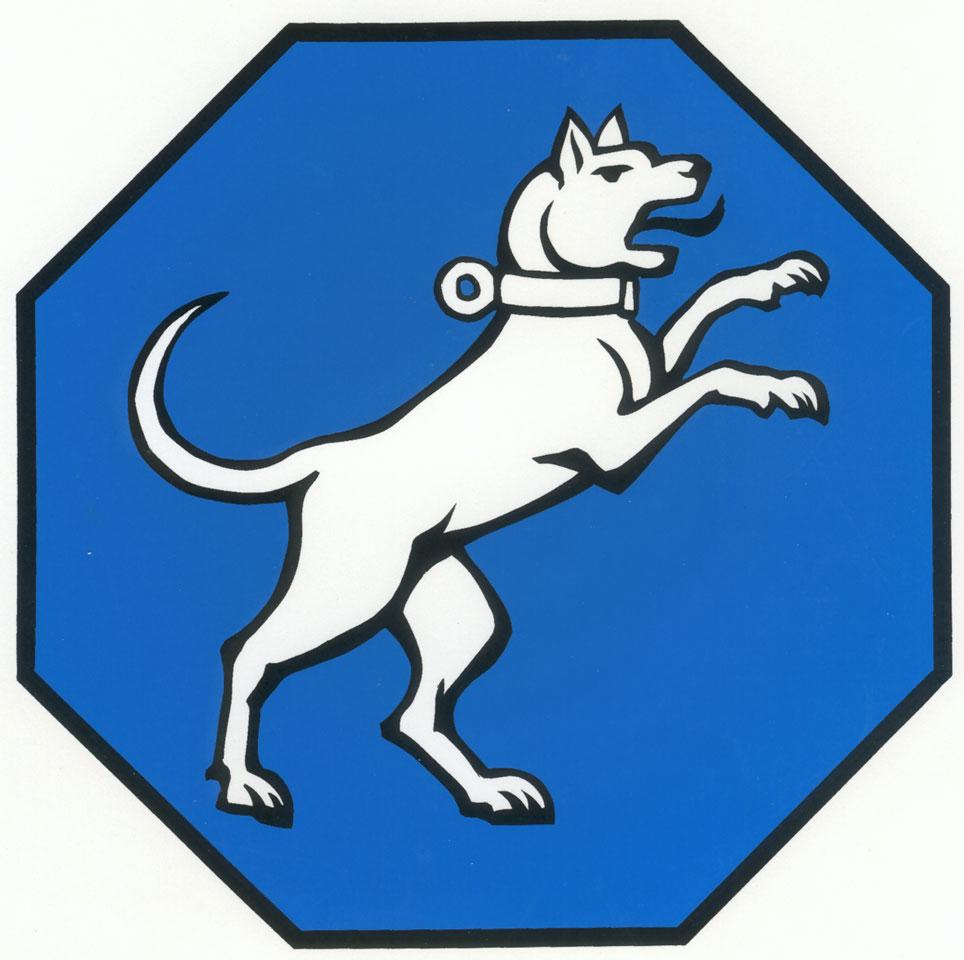 Wappen von Hundersingen mit Abbildung eines weißen Hundes auf den beiden Hinterpfoten halb aufrecht stehenden auf blauem Grund