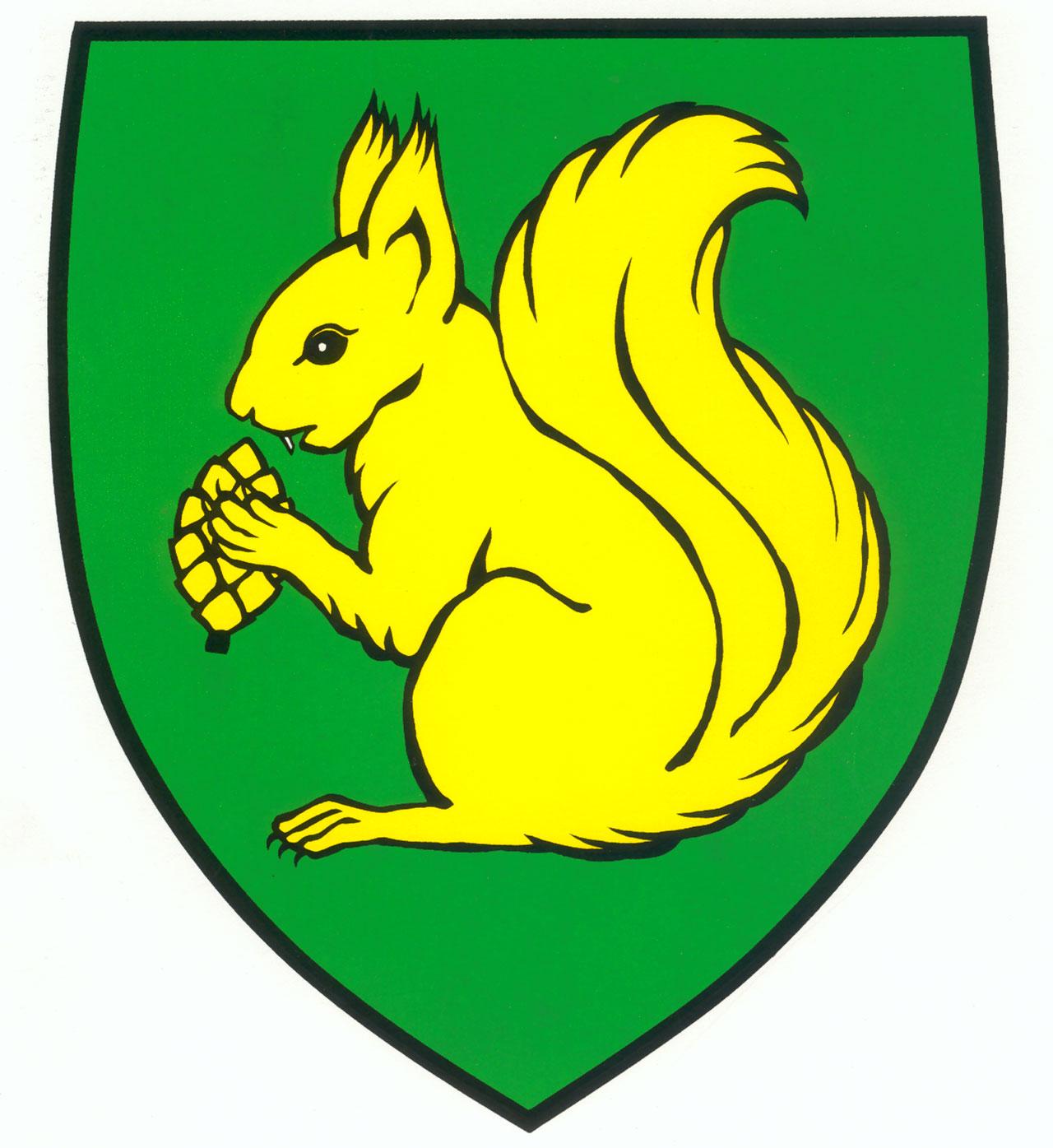 Wappen Mieterkingen mit Abbildung eines Eichhörnchen und einer Eichel in gelb auf grünem Grund