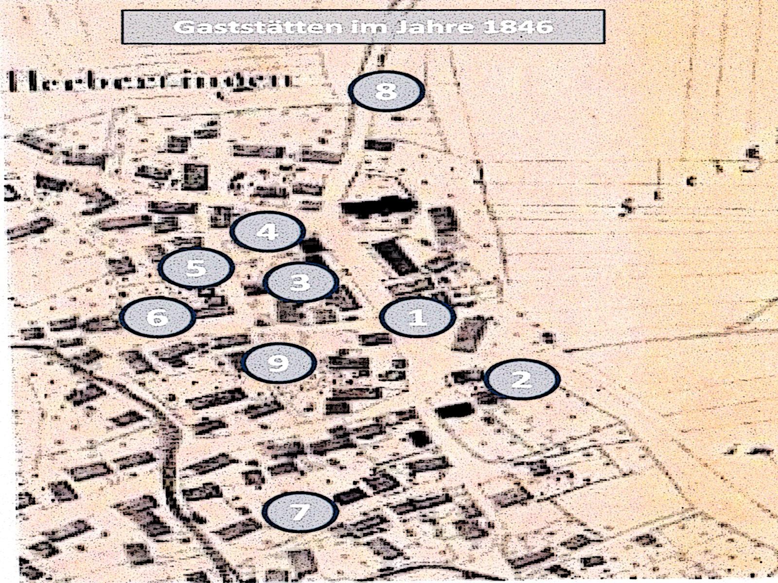 Lageplan als Übersicht über die Gastronomie in Herbertingen im Jahr 1846