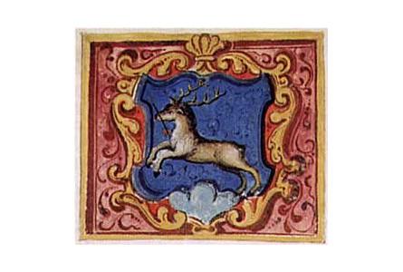 Abbildung des Kaiserwappens für Herbertingen mit springendem Hirsch mit Pfeil in der Schnauze