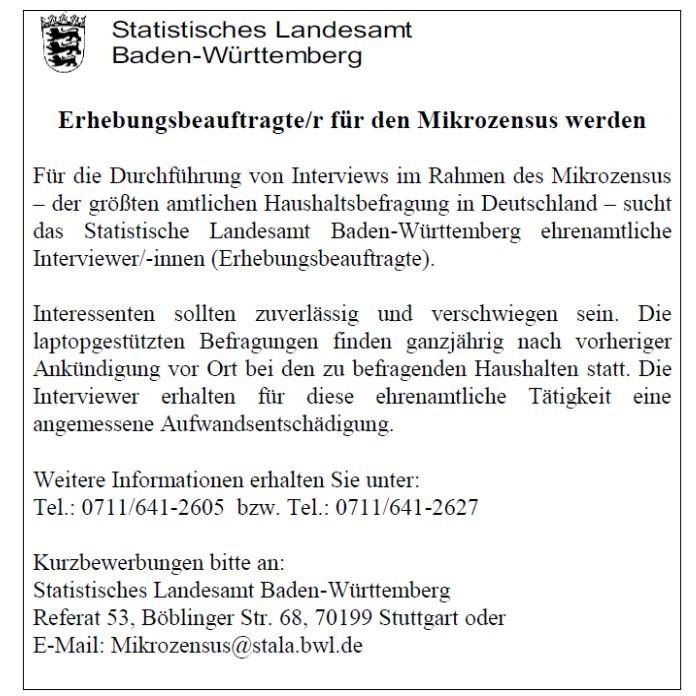Anzeige zur Amtlichen Haushaltsbefragung Mikrozensus, Interviewersuche