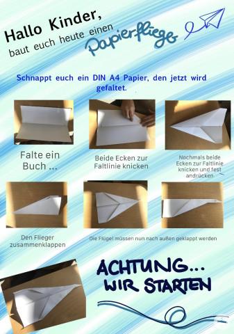 Kindergarten-Tipp vom 07.04.2020, Papierflieger basteln