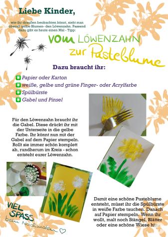 Kindergarten-Tipp vom 24.04.2020, Vom Löwenzahn zur Pusteblume