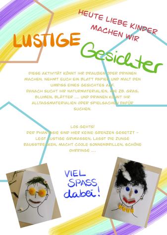 Kindergarten-Tipp vom 28.04.2020, Lustige Gesichter